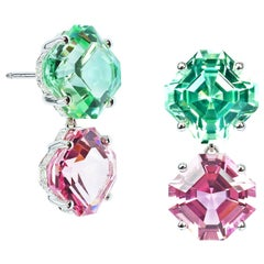 Paolo Costagli 18 Karat White Gold Mint and Pink Tourmaline Earrings