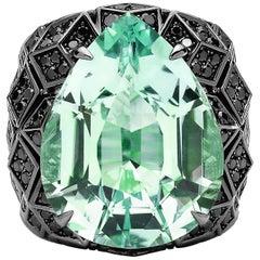 Paolo Costagli 18 Karat White Gold Mint Tourmaline Ring with Black Diamonds