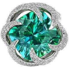 Paolo Costagli 18 Karat White Gold Mint Tourmaline Ring with Diamonds