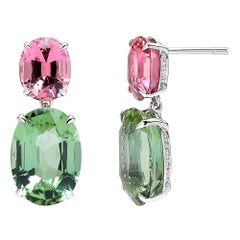 Paolo Costagli 18 Karat White Gold Pink and Mint Tourmaline Earring with Diamond