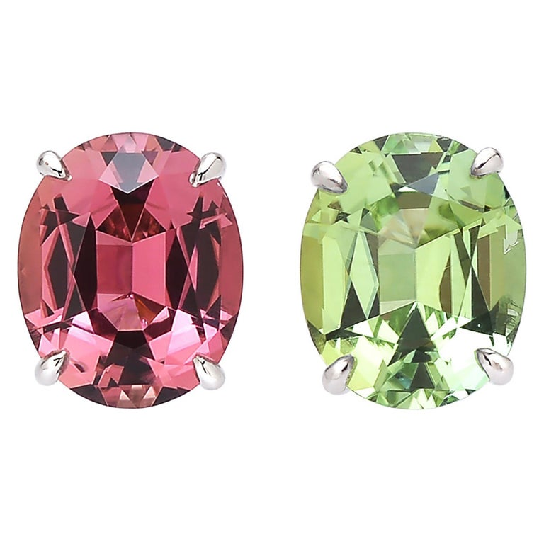 Paolo Costagli 18 Karat White Gold Pink and Mint Tourmaline Stud Earrings For Sale