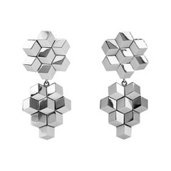 Paolo Costagli 18 Karat White Gold Signature Brillante Earrings, Petite