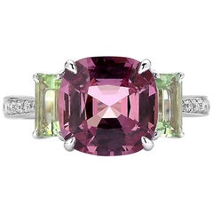 Paolo Costagli 18 Karat White Gold Spinel, Canary Tourmaline and Diamond Ring