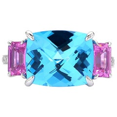 Paolo Costagli 18 Karat White Gold Swiss Blue Topaz and Pink Sapphire Ring