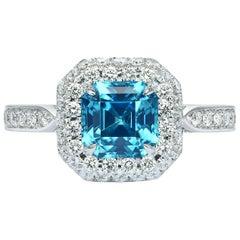 Paolo Costagli 18 Karat White Gold 2.33 Carat Zircon and Diamond Ring
