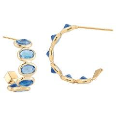 Paolo Costagli 18 Karat Yellow Gold Blue Sapphire 3.70 Carat Hoop Earring Petite