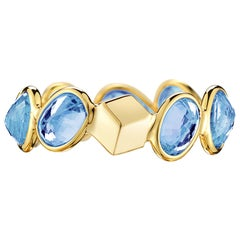 Paolo Costagli 18 Karat Yellow Gold Blue Sapphire, 4.86 Carat Ombre Ring