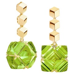 Paolo Costagli 18 Karat Yellow Gold Brillante and Peridot Very PC Earrings