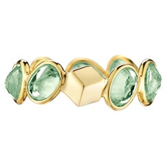 Paolo Costagli 18 Karat Yellow Gold Green Sapphire, 4.86 Carat Ombre Ring