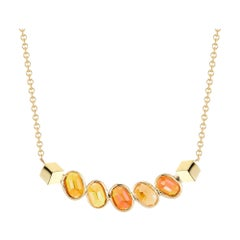 Paolo Costagli 18 Karat Yellow Gold Orange Sapphire Ombré Pendant Necklace