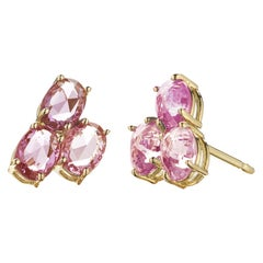 Paolo Costagli 18 Karat Yellow Gold Pink Sapphire Ombré Stud Earrings