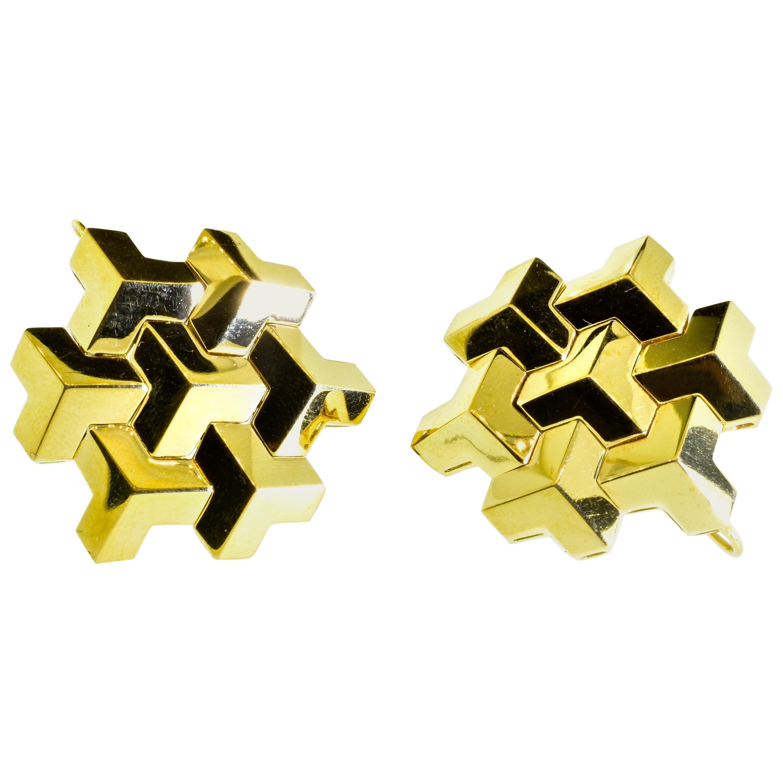 """Paolo Costagli 18 Karat Yellow Gold Signature """"Brillante"""" Earrings, Grande Size"""