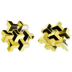 "Paolo Costagli 18 Karat Yellow Gold Signature ""Brillante"" Earrings, Grande Size"