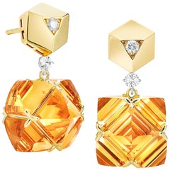 Paolo Costagli 18 Karat Yellow Gold Very PC Citrine Earrings with Diamonds