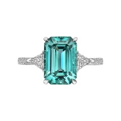 Paolo Costagli 3.48 Carat Green-Blue Tourmaline and Diamond Ring