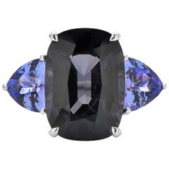 Paolo Costagli 18 Karat White Gold Black Spinel and Tanzanite Ring with Diamonds