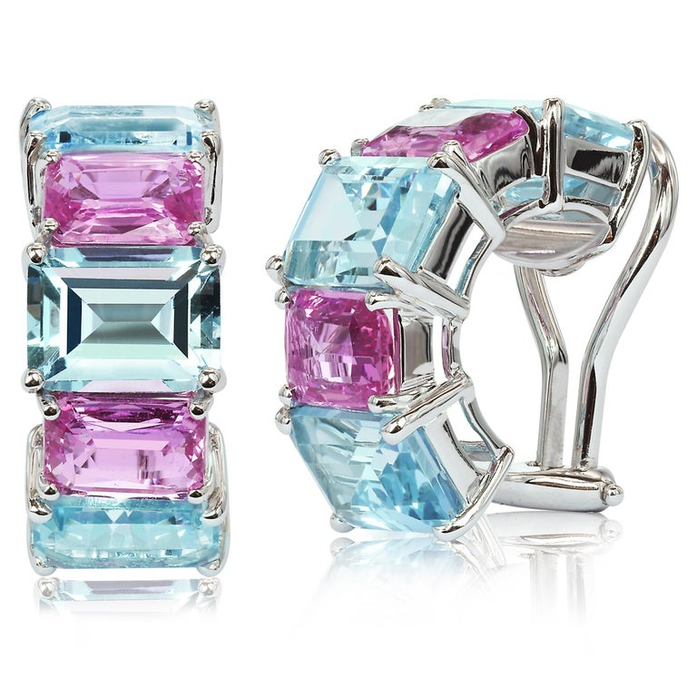 Emerald Cut Paolo Costagli Blue Topaz and Pink Sapphire 18 Karat White Gold Clip-On Earrings For Sale