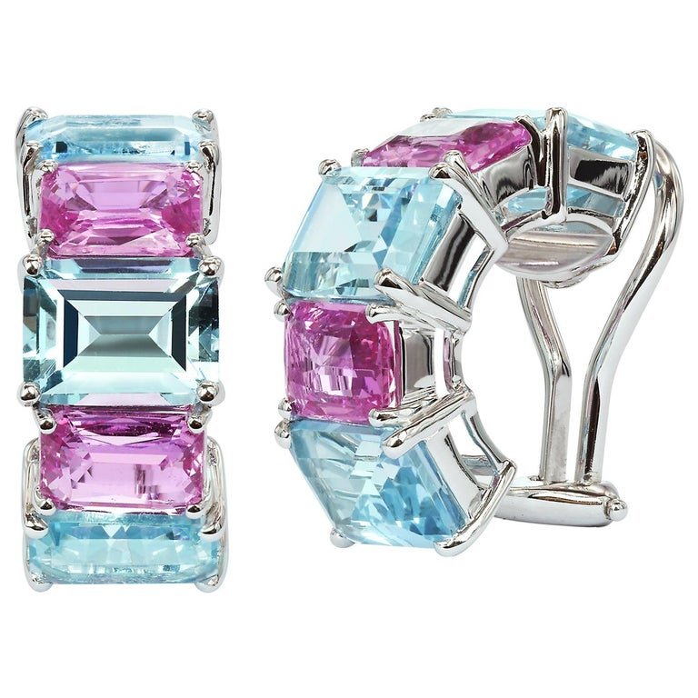 Paolo Costagli Blue Topaz and Pink Sapphire 18 Karat White Gold Clip-On Earrings For Sale