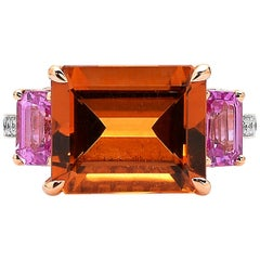 Paolo Costagli Citrine and Pink Sapphire 18 Karat Rose Gold Florentine Ring