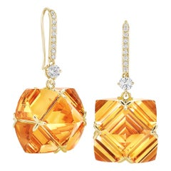 Paolo Costagli Citrine and White Sapphire Hook Top Very PC Earrings