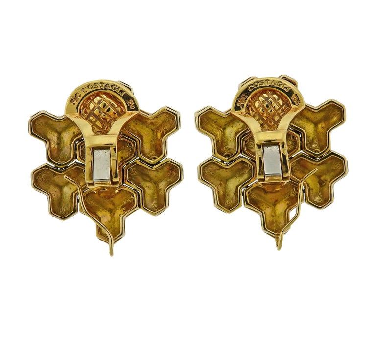 Paolo Costagli Geometric Gold Earrings In Excellent Condition For Sale In Lahaska, PA