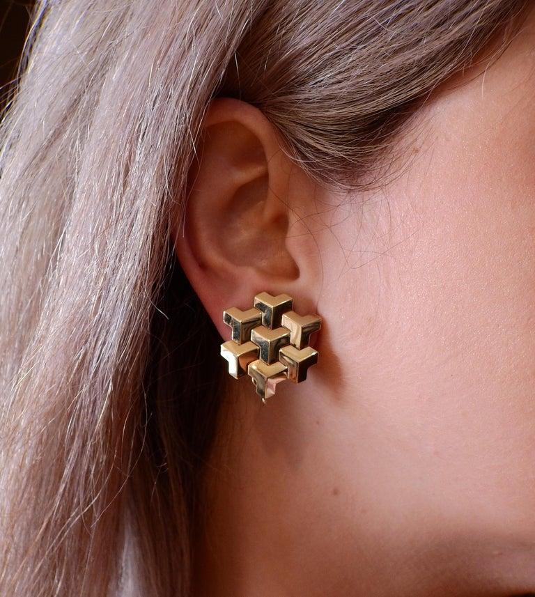 Paolo Costagli Geometric Gold Earrings For Sale 1