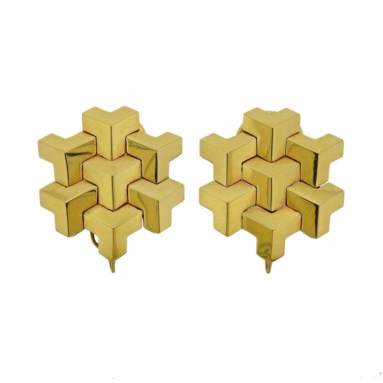 Paolo Costagli Geometric Gold Earrings For Sale