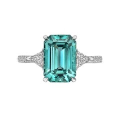 Paolo Costagli Green-Blue Tourmaline Diamond Ring