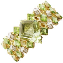 Paolo Costagli Heliodor, Peridot and Diamond Cuff Bracelet 18 Karat Yellow Gold