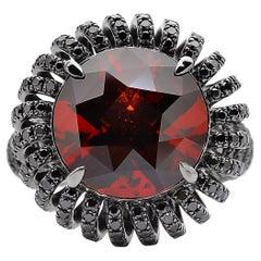 Paolo Costagli Hessonite Garnet and Black Diamond 'Coil' Ring