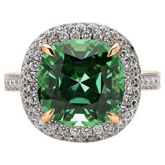 Paolo Costagli 6.06 Carat Mint Tourmaline and Diamond 18 Karat Rose Gold Ring