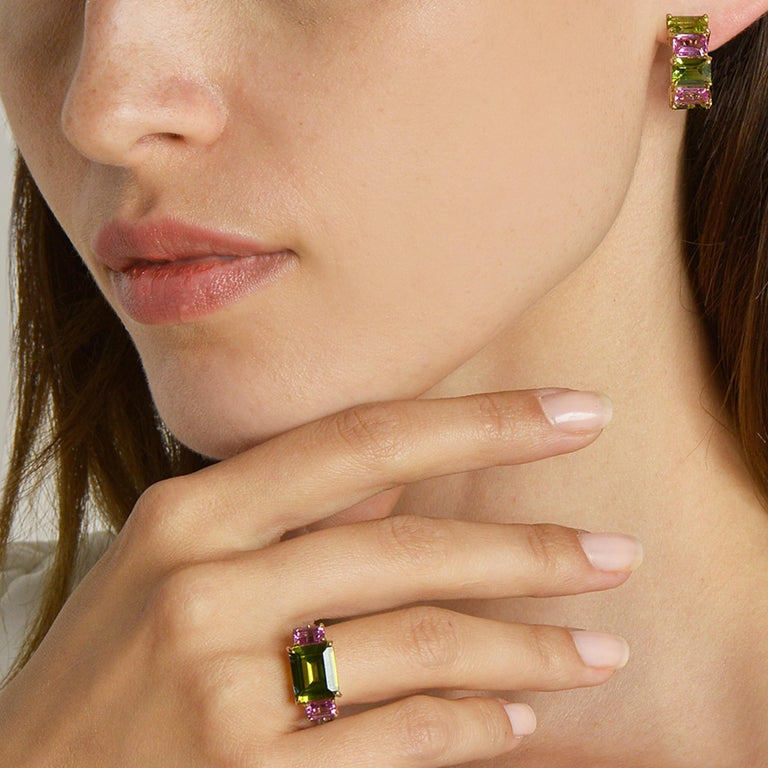 Contemporary Paolo Costagli Peridot and Pink Sapphire 18 Karat Yellow Gold Clip-On Earrings For Sale