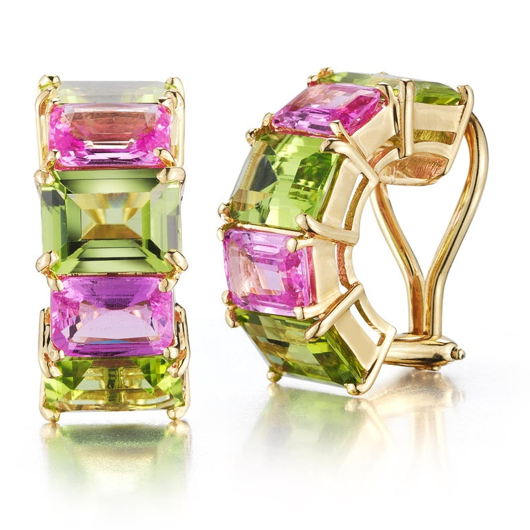Emerald Cut Paolo Costagli Peridot and Pink Sapphire 18 Karat Yellow Gold Clip-On Earrings For Sale
