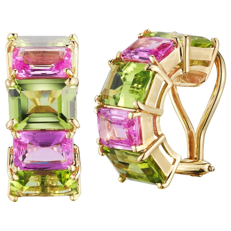 Paolo Costagli Peridot and Pink Sapphire 18 Karat Yellow Gold Clip-On Earrings For Sale