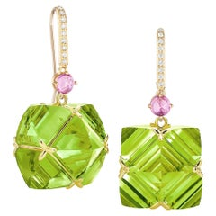 Paolo Costagli Peridot and Pink Sapphire Very PC Earrings