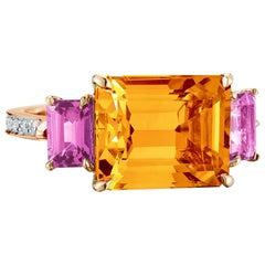 Paolo Costagli Rose Gold Citrine and Pink Sapphire Florentine Ring with Diamonds