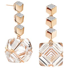 Paolo Costagli Rose Gold Diamond Brillante and White Topaz Very PC Earring