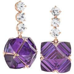 Paolo Costagli Rose Gold White Sapphire and Amethyst Very PC Earrings