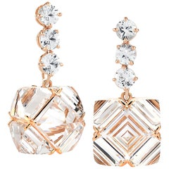 Paolo Costagli Rose Gold White Topaz and Sapphire Very PC Earrings