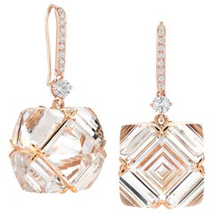 Paolo Costagli Rose Gold White Topaz and White Sapphire Very PC Earrings