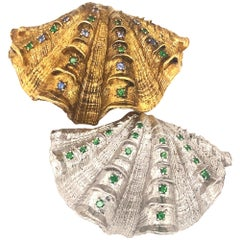 Paolo Costagli Sterling Silver Gilt Shells with Sapphires Tsavorite Garnets