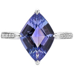 Paolo Costagli 3.34 Carat Tanzanite and Diamond 18 Karat White Gold Ring