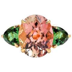 Paolo Costagli Watermelon and Mint Tourmaline Ring with Diamonds