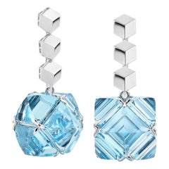 Paolo Costagli White Gold Blue Topaz Very PC Earrings