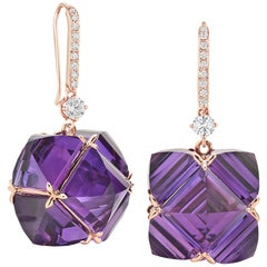 Paolo Costagli White Sapphire and Amethyst Very PC Earrings with Diamonds