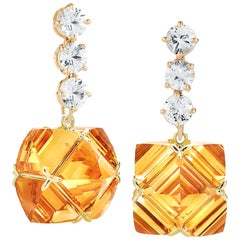 Paolo Costagli White Sapphire and Citrine Very PC Earrings