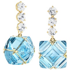 Paolo Costagli Yellow Gold Blue Topaz and White Sapphire Very PC Earrings