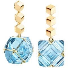 Paolo Costagli Yellow Gold Blue Topaz Very PC Earrings