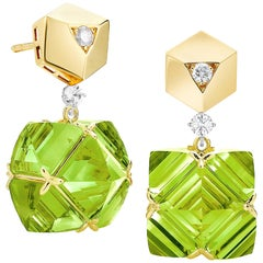 Paolo Costagli Yellow Gold Very PC Peridot Earrings with Diamonds