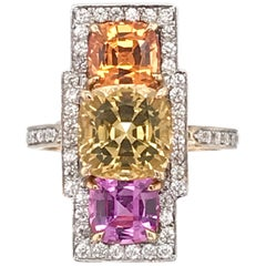 Paolo Costagli Yellow Topaz, Mandarin Garnet, and Pink Sapphire Ring